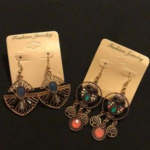 Jewelry - 💐Lot of 2 tribal boho hippie dangle earrings